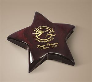 """Picture of 5 3/8"""" Dia Piano Wood Star Paperweight with Digi-color imprint"""