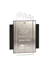 Picture of Tiered Lucite Star Plaque - in Gold or Silver