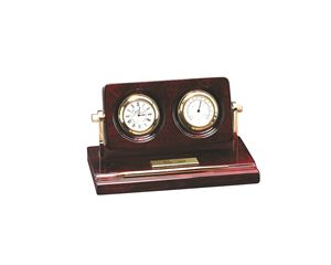 Picture of Rosewood Piano Wood Desk Clock with Thermometer and Pen